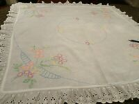 """VINTAGE HAND EMBROIDERED TABLECLOTH-34"""" x 36""""-White Eyelet Lace Trim-Flowers"""