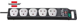 Brennenstuhl Super-Solid 5 Socket Extension Lead 2.5 Metre Extension Cable Black