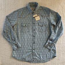BNWT Ryan Michael Western Chambray Indigo Print Cotton Shirt RRP $189 USD Size L