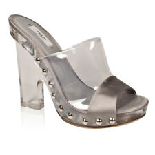 $799 Prada Women's Designer Shoes Metallic Silver and Glass Open-Toe Mules - New