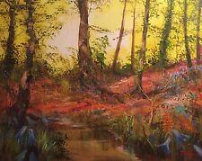 "NUOVO Originale LEON Goodman olio ""Il Bluebell Brook"" MATISSE PITTURA COUNTRY LIFE"