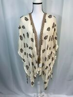 Style & Co Womens Beige Brown Floral Print Open Front Kimono Top Size L NWT