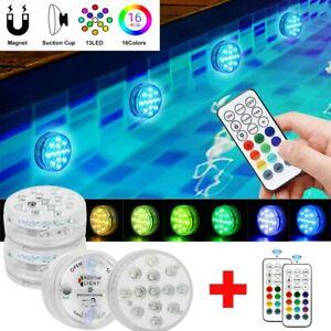 4x Poolbeleuchtung Unterwasser Licht RGB LED Magnet Wasserdichte Fernbedienung
