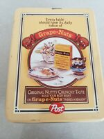 Vtg Repro Grape Nuts Post Cereal Tin Collectible Caniste Advertising Decor Empty
