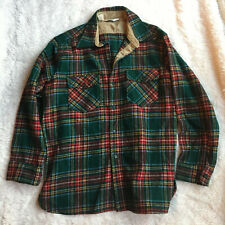 Woolrich Red Green Plaid Coat Shirt Jacket XL Vintage 1960s Made In USA