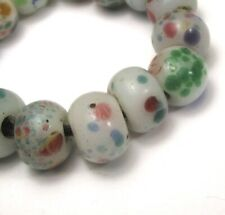 """15 RARE STUNNING OLD WHITE """"PEKING"""" SPECKLED EYE ANTIQUE CHINESE GLASS BEADS"""
