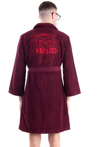 RRP €195 KENZO Terrycloth Robe Size L Wrap Belted Long Sleeve Embroidered Tiger