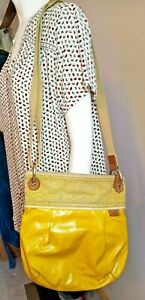 Fossil Key-Per Gold Yellow Purse Coated Canvas Crossbody Shoulder Bag