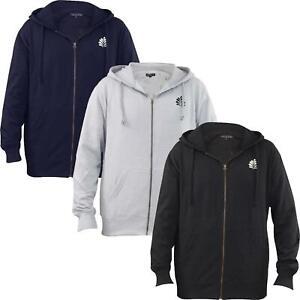 Men's Plain Full Zip Embroided Hoodie Fleece Casual Gym Adult Top Sweatshirt