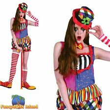 FUNNY CIRCUS RAINBOW FEMALE CLOWN Size 10-14 womens ladies fancy dress costume