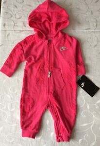 Nike Baby Girl's Pink Hooded Babygrow(3 Months)
