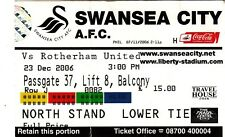 Ticket - Swansea City v Rotherham United 23.12.06