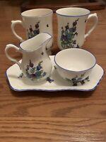 Vintage Crown STAFFORDSHIRE GAINSBOROUGH Creamer Sugar Set Tray 2 cups England