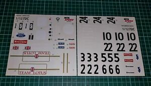 """VERY RARE """"MTR SPEED"""" 1/12 Lotus 72C/72D - 1970/71 """"Gold Leaf"""" Conversion Decals"""