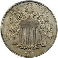 """1868 5C PCGS XF45 """"REPUNCHED DATE"""" SHIELD ~ COOL POST-CIVIL WAR VARIETY!"""
