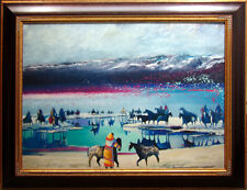 "Earl Biss ""Riders at the Heardwaters of Yellowstone""#8 with Custom frame 30x40"
