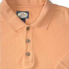 TOMMY BAHAMA Shirt M ORANGE Knit GOLF Polo Buttons Collar COTTON Casual TEXTURED