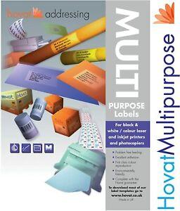 Hovat Multi-Purpose. 16 Labels per Sheet. 99 x 34 mm Self Adhesive Label. (1600