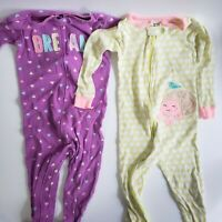Lot Of 2 Baby Girls Infant Size 24 Months Carter's One Piece Zip Footed Pajamas