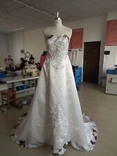 New White Camo Wedding Dress/Gown Satin Plus Size Bridal Gowns Custom MADE