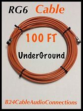 RG6 Quad F Orange 100 feet Direct Burial Coax/Coaxial Cable Outdoor Underground