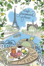"Dish Towel -(Tea Towel)- ""Cafe Gourmand a Paris"" - 100% Cotton  Made in France,"