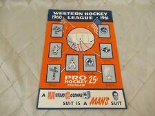 Western Hockey League WHL Pro Hockey Program 19601961 Canucks Totems Cougars
