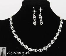 Women's Oval CZGem Earring Necklace Wedding Bride Prom Jewellery Set UK Seller