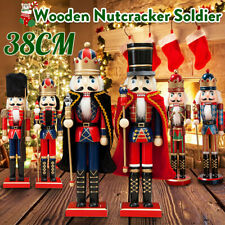 38CM Wooden Nutcracker Soldier Handcraft Walnut Puppet Toy Christmas Decor  +##