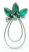 VTG Silver Tone Green Rhinestone Abstract Flower Pin Brooch
