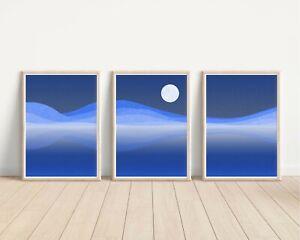 Set of Rolling 3 Landscape Posters, Blue Desert Dunes Night sky. Sizes A4, A3.