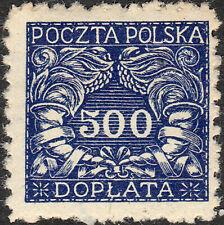 POLAND / POLEN - 1919 Postage Due Mi.P21x 500h blue (thick, smooth paper) - MH*