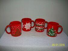 Nice Set of 4 Waechtersbach of Germany Christmas Pattern Red Serving Mugs