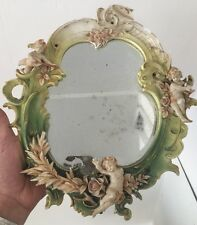 Capo Di Monte Miroir Porcelaine Ange Putti Angelot Capodimonte Ancien XIX Miror