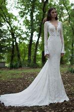 Long sleeve Lace Wedding Dresses Bridal Gown Custom Size 2 4 6 8 10 12 14 16 18+