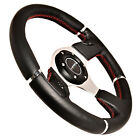 NRG REAL LEATHER ALUMINUM 320mm RACING STEERING WHEEL EVO BLACK / SILVER TRIM