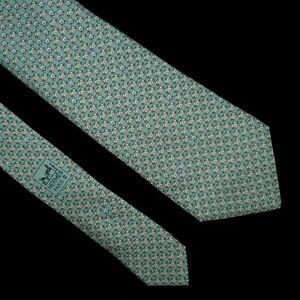 HERMES TIE 5542 UA Mouse & Cat on Azure Blue Classic Silk Necktie