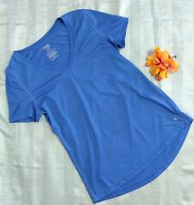 Danskin Now Dry More Womens Shirt Blue V Neck Size M Short Sleeve Gym Wear