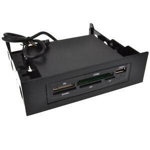 Black Internal 3.5 with 5.25 Bay Memory Card Reader USB
