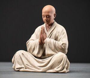 Chinese Porcelain Monk Statue Buddha Buddhism Zen Figure Decor
