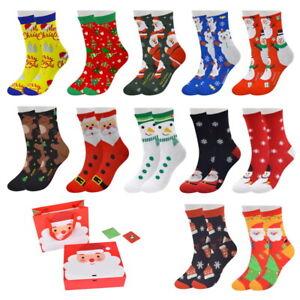 12 Pairs Women Christmas Socks Novelty Xmas Stocking Gift Boxes Santa Claus Elk'