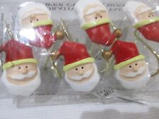 Christmas Holiday Santa Claus 12 Shower Curtain Hooks Decor