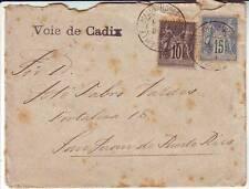 10 et 15 c SAGE obl MARSEILLE lettre pour PUERTO RICO par voie d' Espagne 1891
