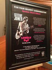 "BIG 10x13 FRAMED STEVE JONES (SEX PISTOLS) ""LONELY BOY"" BOOK LP CD PROMO AD"