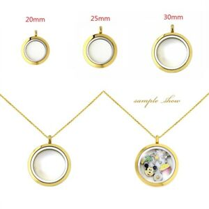 Multi-Color Stainless Steel Twist Floating Living Memory Glass Locket For Charms