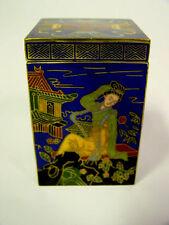 "Beautiful Vintage 3"" x 2"" Chinese Brass Blue Cloisonne Enamel Box Jar China"