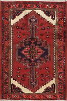 Tribal Geometric Hamadan Area Rug Hand-Knotted Nomad Wool Oriental Carpet 3'x5'
