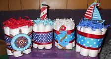 Nautical Mini Diaper Cakes Set Of 4 Custom Orders Any Theme