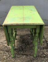 Vintage Antique Drop Leaf Table Dining Side Wooden Green Distressed Primitive