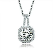 925 Sterling Silver Cubic Zirconia Square Pendant Necklace Chain Jewelry Gift S1